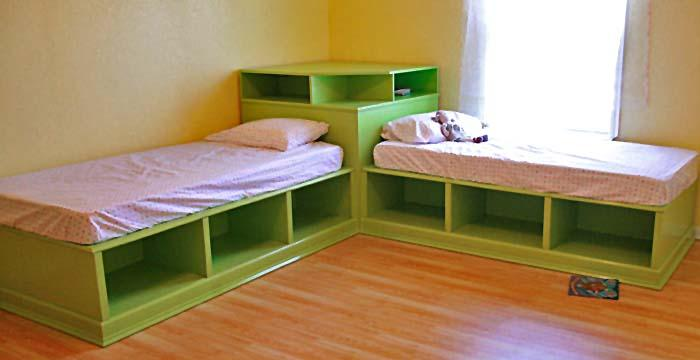 Twin Corner Beds With Storage