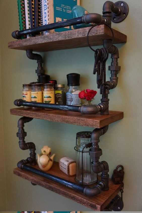 Amazing 30 diy industrial pipe shelves crafts and diy ideas - Amazing shelves ...