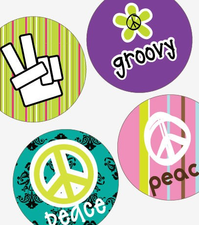 Groovy Peace Signs – (1×1) One Inch Round Pendant Images – BUY 2 GET 1 FREE by sparrowgraphic
