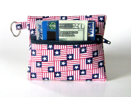 Coin Purse, Change Purse, Business Card Holder, Key Chain – Patriotic Mini Stars and Stripes by UnexpectedTreasure