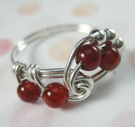 Carnelian Ring Wire Wrapped Sterling Silver Fibonacci – Any Size by holmescraft