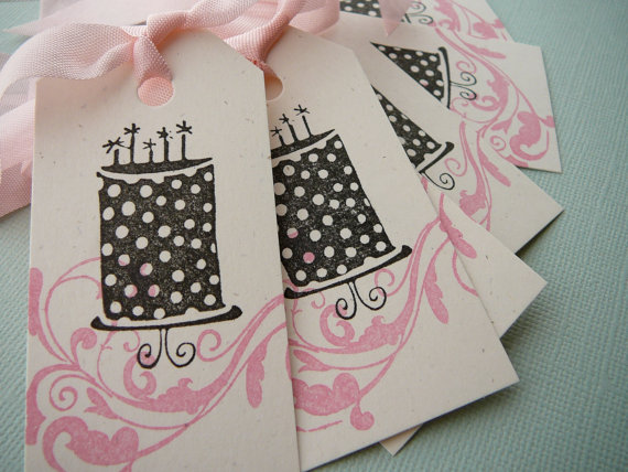 pink polka dot cake tags by petitepear