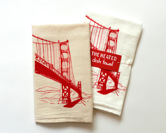 Flour Sack Dish Towel – Golden Gate Bridge in red ink – San Francisco Bay Area Landmark by theheated