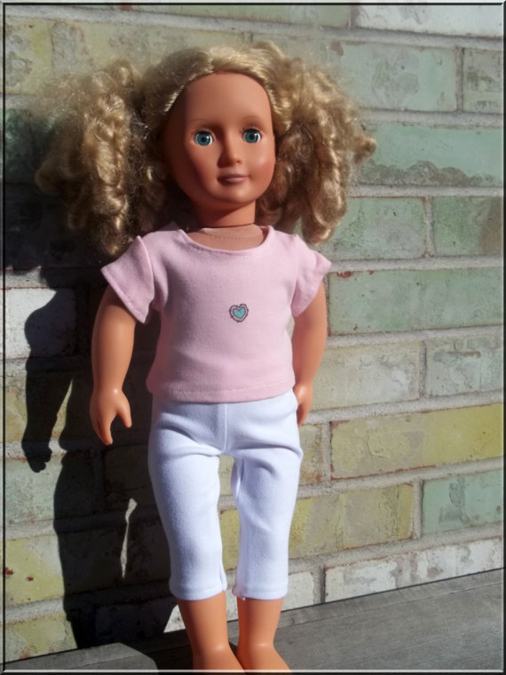 American Girl Doll Clothes Pink Tshirt and White Leggings for 18 Inch Dolls by BarbieBoutiqueBasics