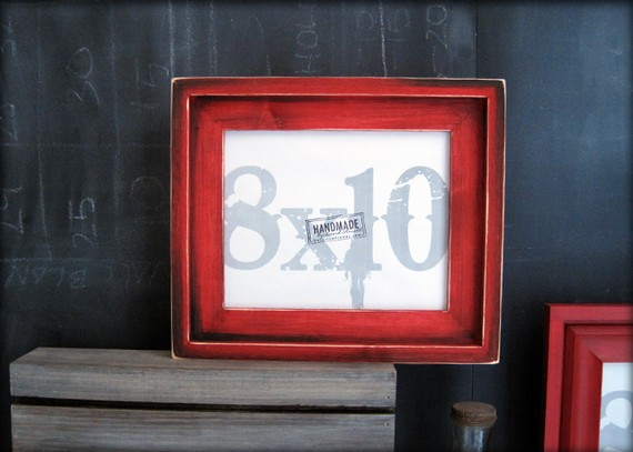 8×10 RED barnwood style rustic stacked pine picture frame. handmade. by DAcustomframes