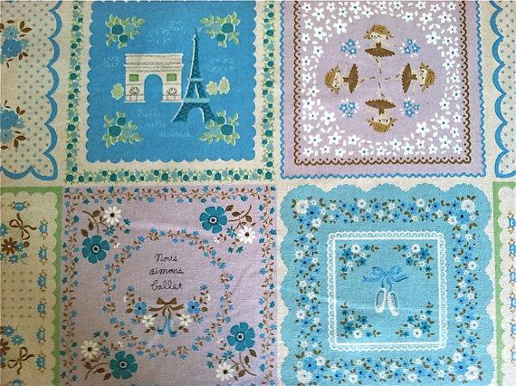 SALE Paris Fabric Eiffel Tower Fabric Kokka Fabric Japanese Fabric – 1 Yard by bertiesfabric