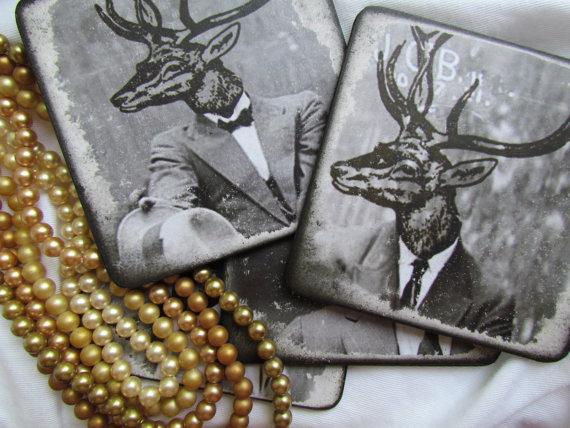 Deer Head Coasters – Mad Men – Wood Coaster Drink Set – Set of 4 – Antler Coaster Set – Gift for Men – Animals acting Human DC018 by OnceTattered