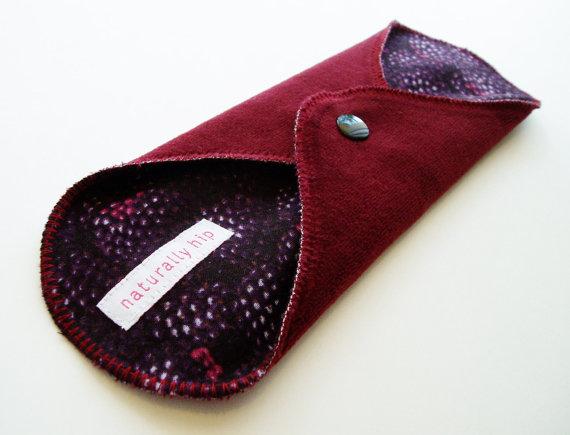 9 & quot; Regular Cotton Velour Cloth Menstrual Pad – Burgandy Blackberry – Cloth Sanpro – Incontinence Pad – Purple Black Brick Red by NaturallyHip
