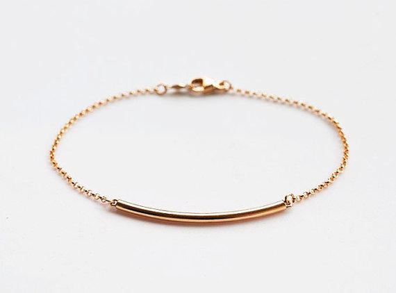 14KGF Gold Tube Bracelet, Modern Bracelet, everyday jewelry, Minimalist Bracelet, Gold Bar Bracelet by Fifilabonge