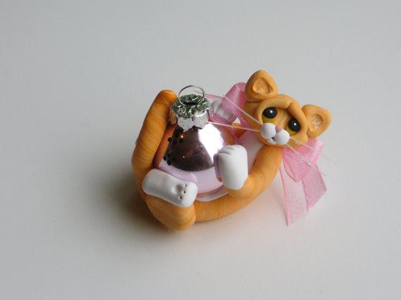 Polymer Clay Orange Tabby Cat Christmas Ornament by HeartOfClayGirl