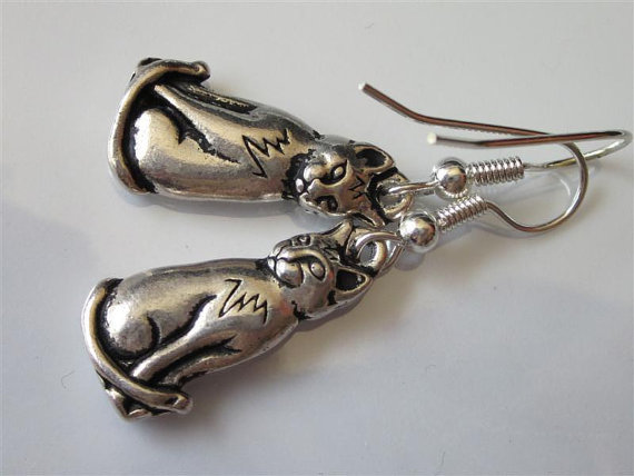 Silver Cat Dangle Earrings TierraCast Sitting Silver Pewter Cat Charm Earrings by DanglingDesigns