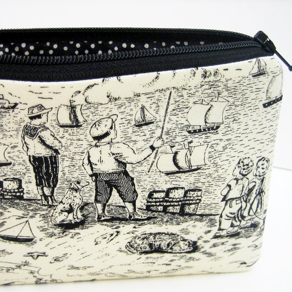 Seaside Toile, Small Zippered Pouch, Coin Purse by OceanPatch