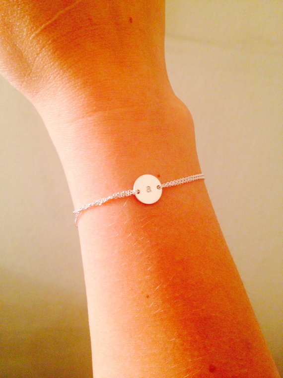 Silver Monogram bracelet -Personalized bracelet, Sterling silver, sister, mothers gift, handstamped disc by Hibiscusdays