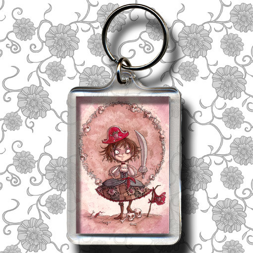 Strawberry Pirate Alicia – Keychain by moonlightwhispers