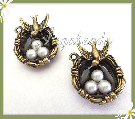 2 Sweet Antiqued Brass Bird's Nest w Faux Pearl Eggs Charms by sugabeads