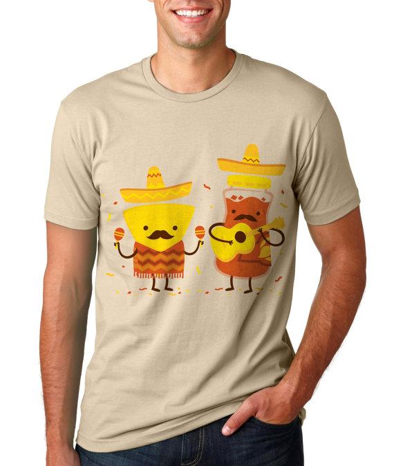 Mens Cinco De Mayo T Shirt, Mexican Chips and Salsa Shirt, Funny Mustache Music TShirt, SML XL 2XL by FuzzyInk