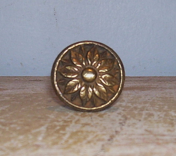 Brass Knob Vintage Pull Handle Rosette Flower French Hardware by Assemblages