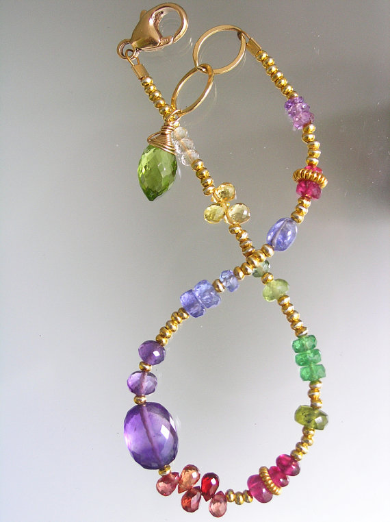 Colorful Gemstone Bracelet, Layering, Slender, Beaded, Handmade, Amethyst, Sapphire, Vesuvianite, Original Design, Signature by bellajewelsII