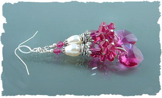 Valentine ~ Fuchsia Pink Swarovski Crystal Heart Earrings by JavaBead