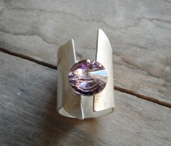 sterling silver 925 ring with purple swarovski element by katerinaki1977