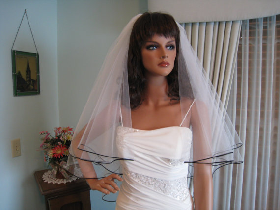 Shimmery White Wedding Veil with Black Satin Cord Edge Fingertip Length Bridal Veil 2 tiers 31 & 34 Inches Long Made in the USA 48667 by joyousillusions