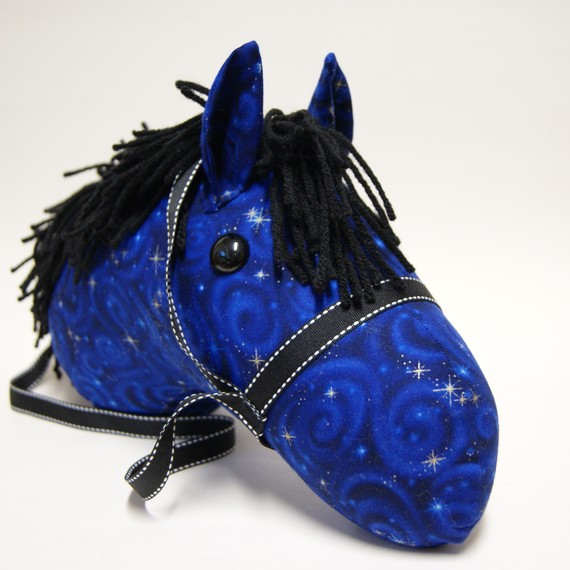 Midnight Blue, Stick Horse, Hobby Horse, Stick Pony, Easter, birthday, Stick Horse Head, MADE to ORDER, With or Without Stick by LilsGarden