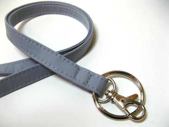 Medium Gray – grey – Skinny Lanyard ID Badge Holder – Key Strap by gracieloukangaroo