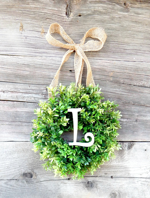 Mini MONOGRAM Boxwood Wreath-Mini Wreath-Scented Window Wreath-Personalized Gift-Initial Boxwood Wreath-Wall Hanging-Wall Decor- by WildRidgeDesign