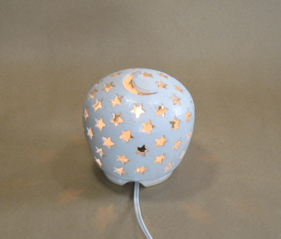 Starry Nights Lamp – Ceramic Night Light – LIghting – Electric Lamp – Lantern – Luminary – Nursery Light – Hand Carved – Moon and Stars by GlyntPottery