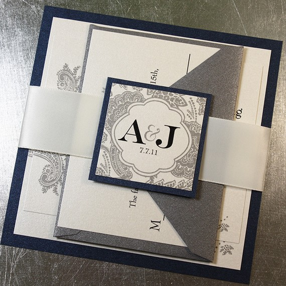 Midnight Blue Silver Wedding Invitation Suite With Ribbon Belly Band U2013  SAMPLE KIT U2013 Bellevue By JWDPaperie