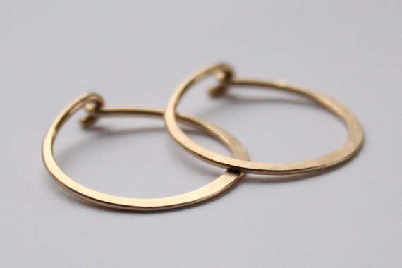 Gold Hoops Small Hammered 14k Gold Fill by erinjanedesigns