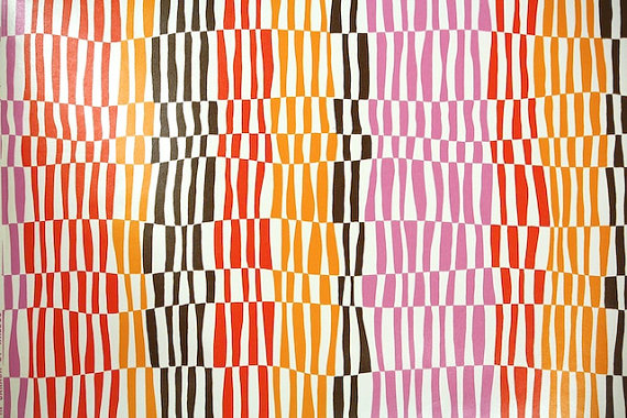 1970's Retro Wallpaper – Vintage Red Yellow Brown and Pink Optical stripe and Geometric Design by RetroWallpaper