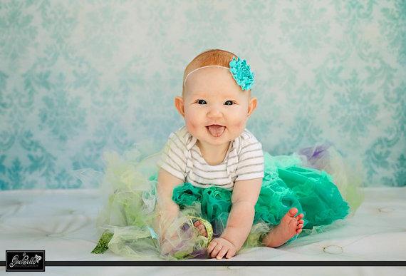 Turquoise Shabby Frayed Chiffon Flower Rosette on Skinny Elastic Headband – Newborn Baby Toddler Girl – Photo Prop by HeadbandBlossoms