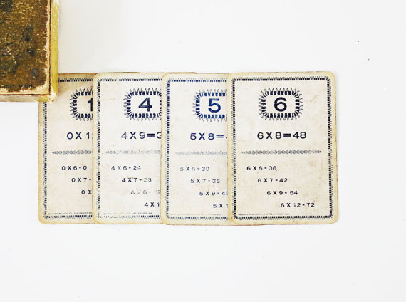Good With Numbers – Antique 1895 Flash Cards – Supplies – Vintage Ephemera – School – Math – Kids – Neutral by becaruns