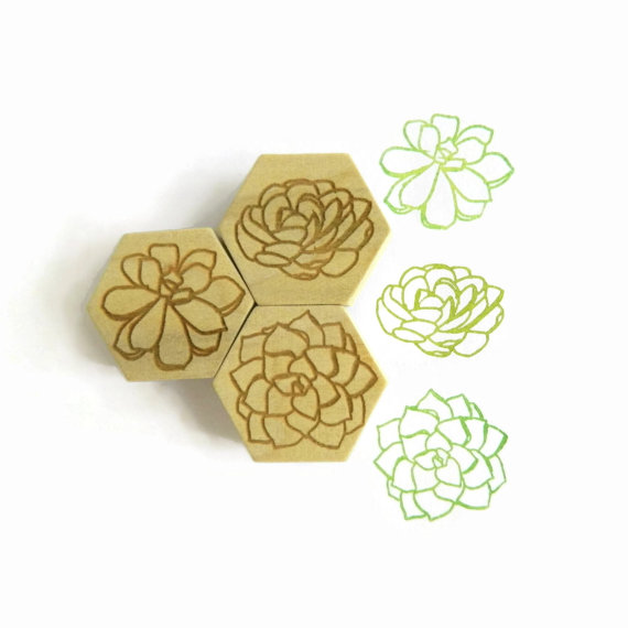 Succulent Garden Stamp Set, Hexagon Wood Mounted Boxed Rubber Stamp Set with Ink by creatiate