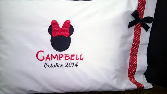 Minnie Pillowcase with Date Disney Autograph Keepsake by SisterEmbroideryShop