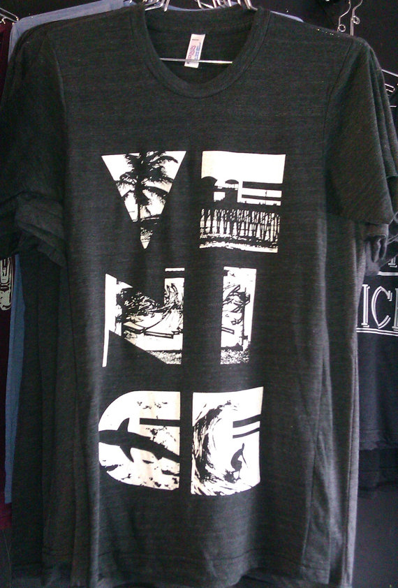 Venice California Collage Art Print American Apparel 50/50 T shirt XS SL or XL by UnknownArtistApparel