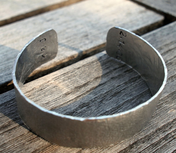 10th Anniversary Men's Personalized Aluminum Cuff Bracelet by madredeolivia