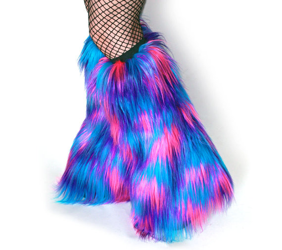 PRE-MADE Furry Leg Warmers Multi-Color Fluffies Pink, Purple, Turquoise Blue Rave Wear by OsisVinylDolls