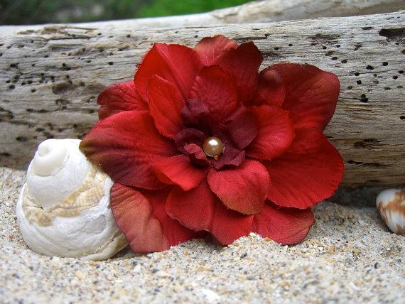 Flower Hair Clip-Shabby Chic Rustic Red Flower Hair Clip, Rustic Country Wedding, Western Wedding, Red Flower, Bridesmaid Hair, Barn Wedding by sandnsurfcreations