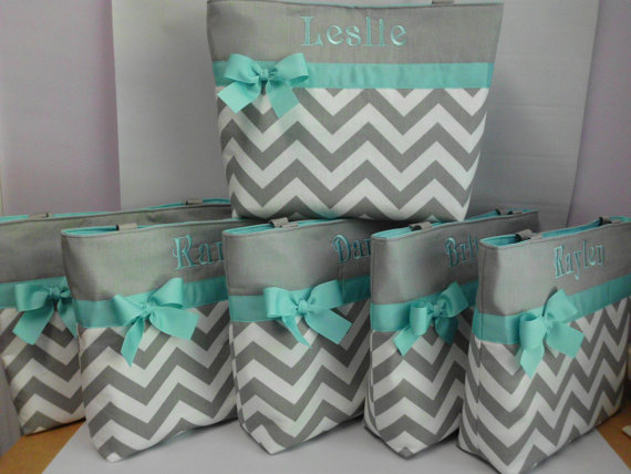 NEW …. CHEVRON Tote Bag .. ..You Pick Color Options ..BRIDESMAID Bags … Monogrammed FReE by TweedleTotes