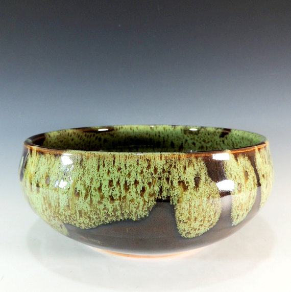 Stoneware Serving Bowl in Woodland Green / Brown Glaze / Serving / Dining / Dinnerware / Home Decor by CarolBroadleyPottery