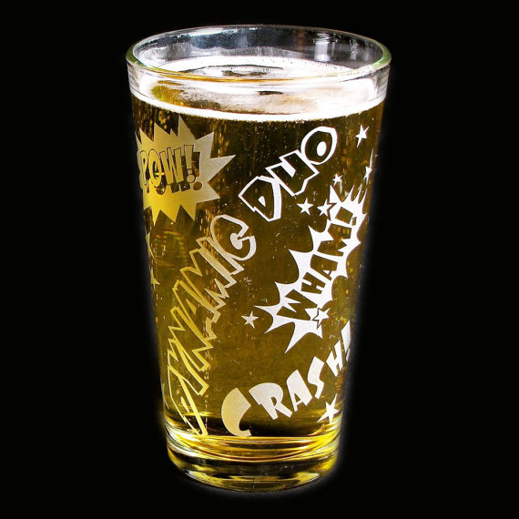 1 Comic Book Style Pint Glass, Nerd or Geek Gift, Father's Day Gift for Dad, Man by bradgoodell
