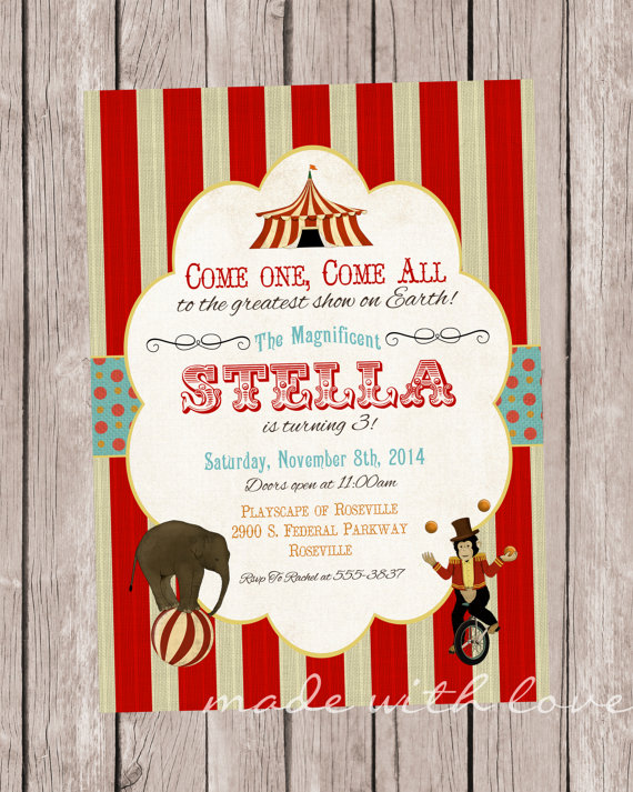 Under the Big Top, Circus Party Invitation, personalized and printable, 5×7 by MadeWithLoveJJ
