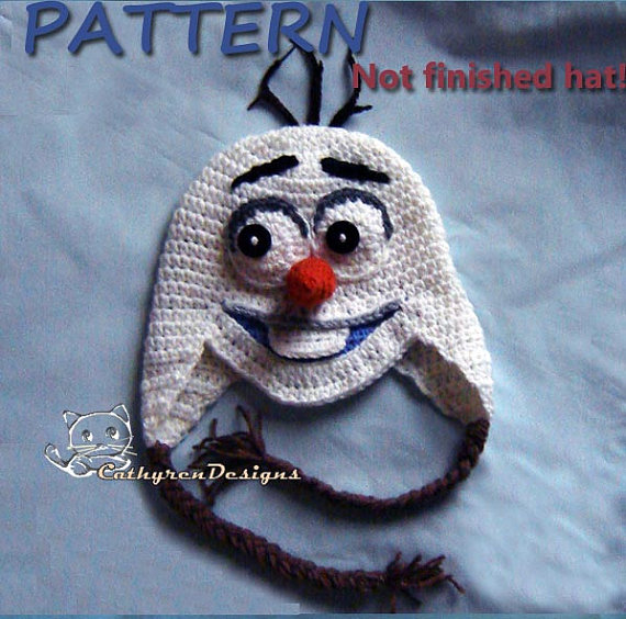 Snowman Olaf Earflaps-4 Sizes, Baby-Teen, Crochet Pattern by CathyrenDesigns
