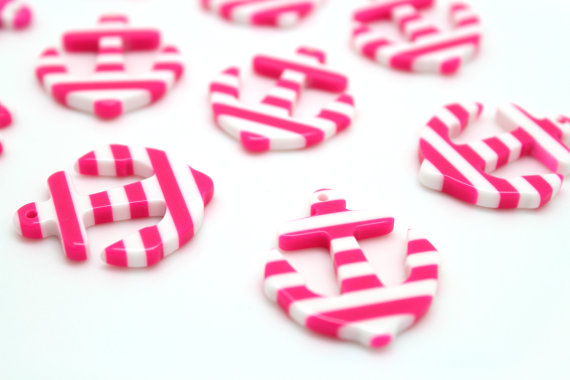 6 Pink & White Striped Nautical Resin Anchor Pendants Kawaii Decoden 34mm x 28mm by UniqueAsYou