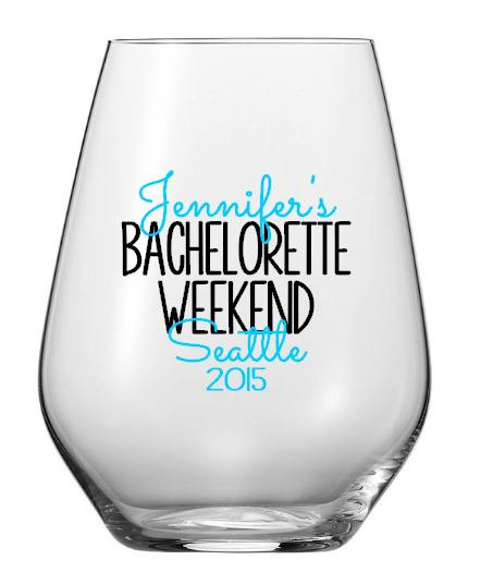 Personalized Bachelorette Weekend Wine Glass, Custom Location Wedding Party Plastic Tumbler Decals, Cups NOT Included by SaidInStoneOnline