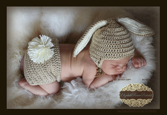 PDF Pattern for Crocheted Baby Easter Bunny HAT ONLY Instructions for newborn to 12 months Sell what you make by NanasKnottyCreations