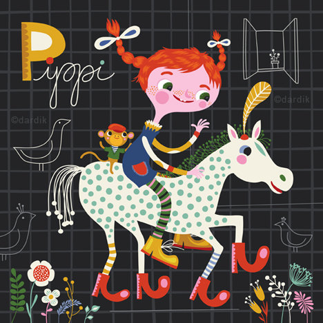 Pippi … limited edition giclee print of an original illustration (8 x 8 in, 20 x 20 cm) by helendardik