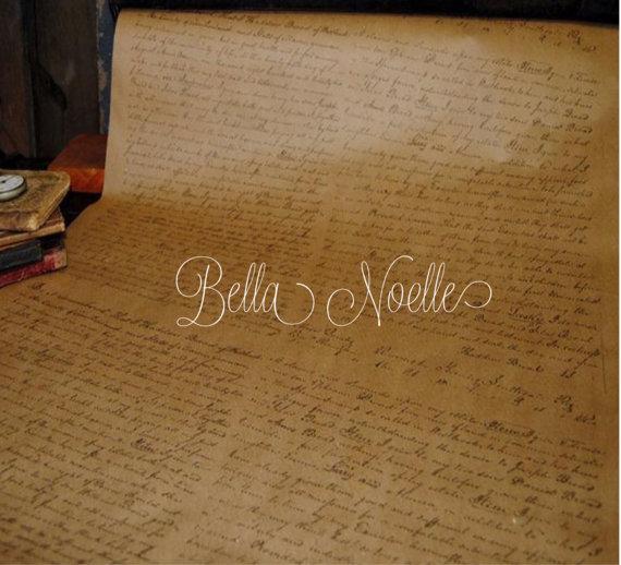 One Roll VINTAGE SCRIPT Kraft Paper Gift Wrap 2 'x 10' by BellaNoelle
